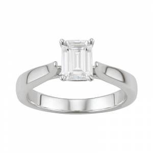Kohl's 14K White Gold Lab-Created Moissanite 1 Ct. T.W. Emerald-Cut Solitaire Ring, Women's, Size: 6 - Size: 6