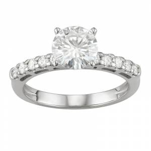 Kohl's 14K White Gold Lab-Created Moissanite 1 3/4 Ct. T.W. Solitaire Engagement Ring, Women's, Size: 6 - Size: 6
