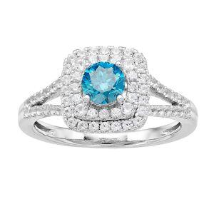 Unbranded 10K White Gold 1 Carat T.W. Diamond Blue & White Ring, Women's, Size: 6 - Size: 6