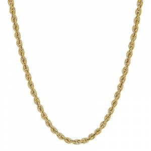 """Everlasting Gold Men's Everlasting Gold 10k Gold Hollow Glitter Rope Chain Necklace - 24 in., Size: 24"""", Multicolor - Size: 24"""""""