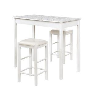 Linon Lancer Tavern Table & Stool 3-piece Set, White - Size: One Size