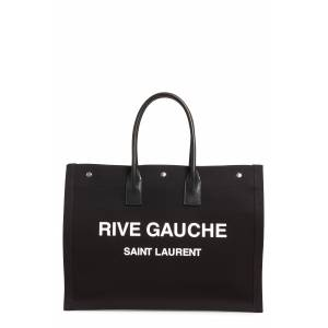 Saint Laurent Noe Rive Gauche Logo Canvas Tote - Black
