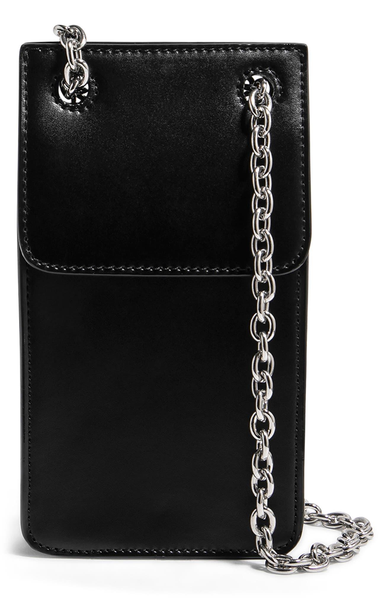 House Of Want Vegan Leather Phone Crossbody Bag - Black