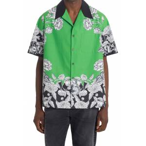 Valentino Dark Blooming Floral Short Sleeve Button-Up Shirt, Size 38 Us in Green/Black/White at Nordstrom