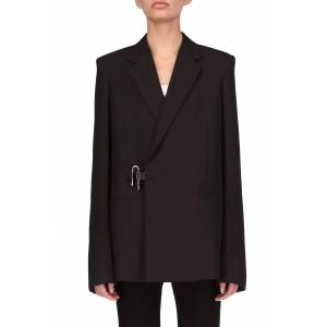 Women's Givenchy Padlock Oversize Wool Blazer, Size 6 US - Black