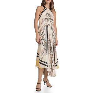Reiss Women's Reiss Grace Scarf Print Halter Neck Dress, Size 10 US - Pink