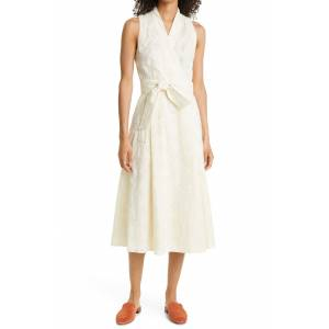 Tory Burch Women's Tory Burch Logo Embroidered Sleeveless Faux Wrap Dress, Size 14 - Ivory