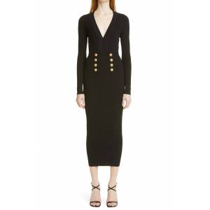 Women's Balmain Long Sleeve Midi Sweater Dress, Size 2 US - Black