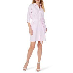 Foxcroft Women's Foxcroft Stripe Belted Non-Iron Shirtdress, Size 18 - Pink