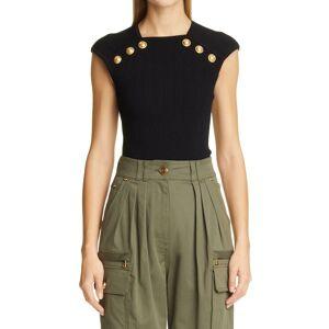 Balmain Women's Balmain Shoulder Button Rib Knit Top, Size 8 US - Black