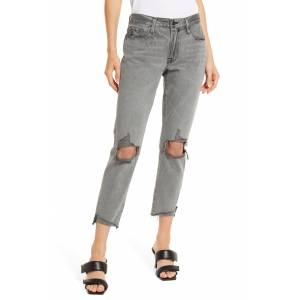 FRAME Le Garcon High Waist Ripped Cuff Step Hem Nonstretch Jeans, Size 26 in Monsoon Rips at Nordstrom