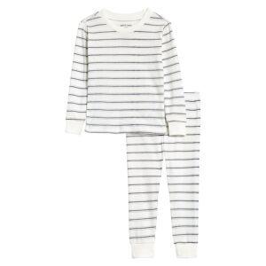 Infant Boy's Petit Lem Print Fitted Two-Piece Pajamas, Size 12M - Ivory
