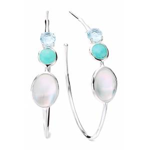 Ippolita Rock Candy Luce 3-Stone Sterling Silver Hoop Earrings at Nordstrom
