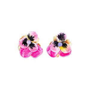 The Pink Reef Women's The Pink Reef Pink Pansy Velvet Stud Earrings