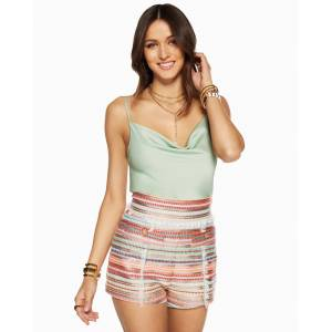 Abigail Cowl Neck Tank Top in Wild Sage - Size: Large