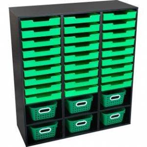Black 27 Slot Mail And Supplies Center With 27 Trays 6 Cubbies And Baskets Single Color  1 mail center 27 trays 6 baskets Color