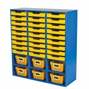 Really Good Stuff LLC Blue 27 Slot Mail And Supplies Center With 27 Trays 6 Cubbies And Baskets Single Color  1 mail center 27 trays 6 baskets Color Y