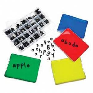 Really Good Stuff LLC MAGtivity Tins With Black Plastic Magnetic Letters Classroom Kit by Really Good Stuff LLC