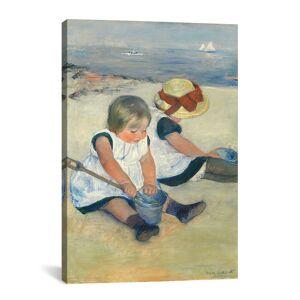 "iCanvas Children Playing On The Beach, 1884 by Mary Stevenson Cassatt Canvas Reproductio   - Size: 18"" x 26"""