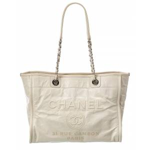 Chanel White Calfskin Leather Large Deauville Tote (Authentic Pre-Owned)   - Size: NoSize