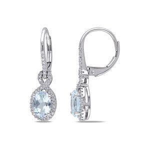 Rina Limor 10K 1.45 ct. tw. Diamond & Oval Aquamarine Earrings   - Size: NoSize