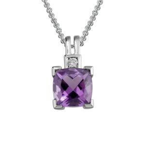 14K 1.48 ct. tw. Diamond & Amethyst Necklace   - Size: NoSize