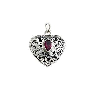 Samuel B. Silver 0.45 ct. tw. Garnet Heart Pendant   - Size: NoSize