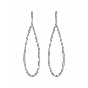 Forever Creations USA Inc. Forever Creations Silver 1.45 ct. tw. Diamond Drop Earrings   - Size: NoSize