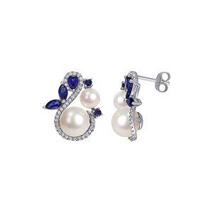 Rina Limor 10K 1.45 ct. tw. Diamond, Sapphire, & 5-8.5mm Pearl Swan Studs   - Size: NoSize