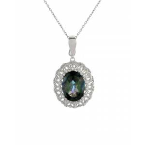 Forever Creations USA Inc. Forever Creations Silver 9.45 ct. tw. Coted Topaz Necklace   - Size: NoSize