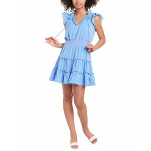 Sail to Sable Flutter Sleeve Tiered Mini Dress  -Blue - Size: Extra Large