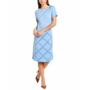St. John Grid Stripe Shift Dress  -Blue - Size: 0