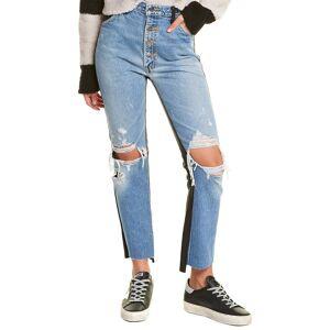 Amiri Leather-Trim Crop Flare Jean   - Size: 27