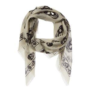 Alexander McQueen Skull Print Silk-Blend Scarf  -White - Size: NoSize