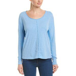 Three Dots Raw Edge T-Shirt  -Blue - Size: Extra Small
