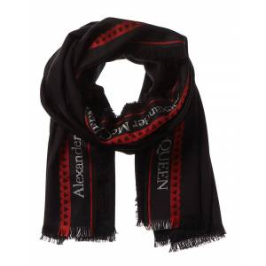 Alexander McQueen Logo Print Wool & Silk-Blend Scarf  -Black - Size: NoSize