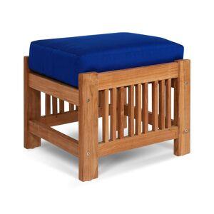 HiTeak Summer Teak Outdoor Ottoman With Sunbrella True Blue Cushions  -Blue - Size: NoSize