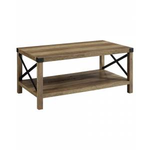 """Hewson 40in Farmhouse Industrial Wood Coffee Table   - Size: 40"""""""