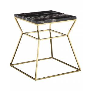Pangea Gold Geo Side Table   - Size: NoSize