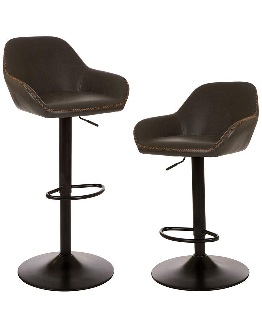 Glitz Home Set of 2 Dove Gray Leatherette Bar Stools   - Size: NoSize