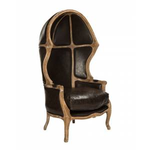 Safavieh Couture Sabine Brown Leather Balloon Chair   - Size: NoSize
