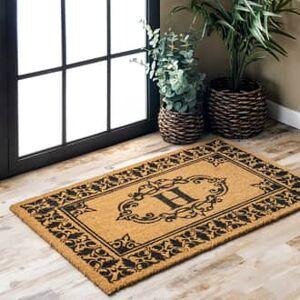 Rugs USA Letter H Vineyard Monogrammed Outdoor Welcome Door Mat mat - Contemporary Rectangle 3' x 6'