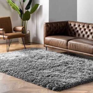 Rugs USA Gray Terrace Fluffy Speckled Shag rug - Shags Rectangle 5' x 8'