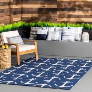 Rugs USA Navy Hacienda Anchors Indoor/Outdoor rug - Novelty Square 6'