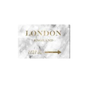 """Oliver Gal London Road Sign Fine Art - Grey White - Size 15"""" X 10""""      size:15"""" X 10"""""""