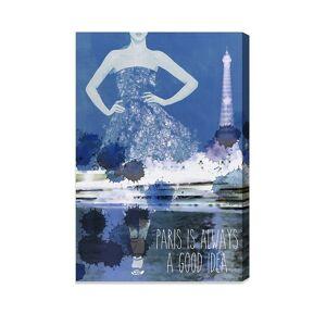 """Oliver Gal Paris Canvas Art - Blue - Size 10"""" X 15""""  Blue  unisex  size:10"""" X 15"""""""