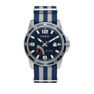 Men's PRT Eco-Drive Stainless Steel Analog Strap Watch - Grey Blue  Grey Blue  male  size:one-size