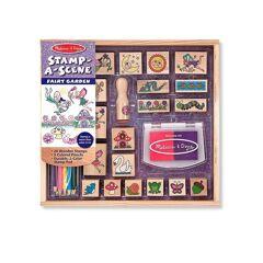 Melissa & Doug Stamp-a-Scene-Fairy Garden Stamp Set  Pink  female  size:one-size