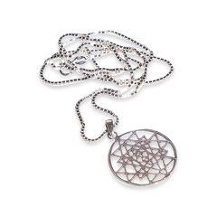 Jean Claude Dell Arte Sterling Silver Sri Yantra Mantra Pendant-On-Chain  Silver  female  size:one-size