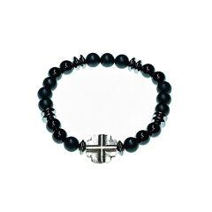 Jean Claude Dell Arte Sterling Silver, Onyx & Hematite Beaded Bracelet  Silver  female  size:one-size